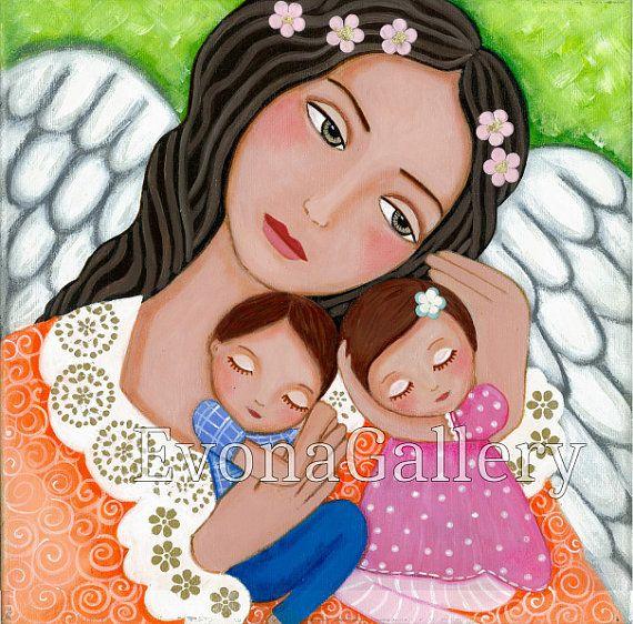 Pintura de arte popular amor de Ángel de la por Evonagallery