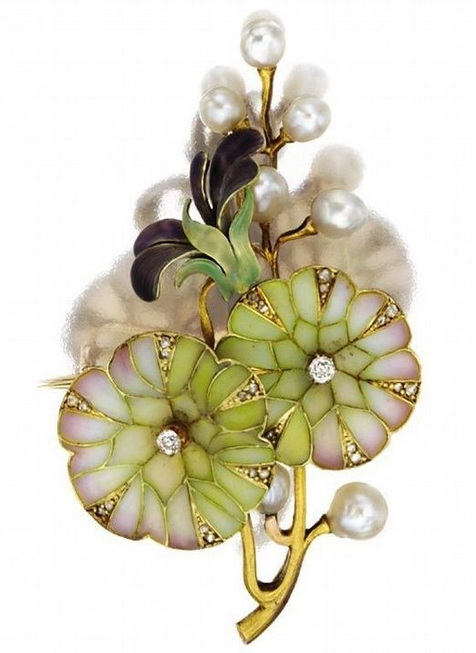 """AN ART NOUVEAU GOLD, PLIQUE-À-JOUR ENAMEL AND PEARL PENDANT-BROOCH, CIRCA 1900. Designed as a spray of morning glories, the petals accented with rose, white and green plique-à-jour enamel and translucent purple enamel, decorated further with small old-mine and rose-cut diamonds and baroque pearls.:"