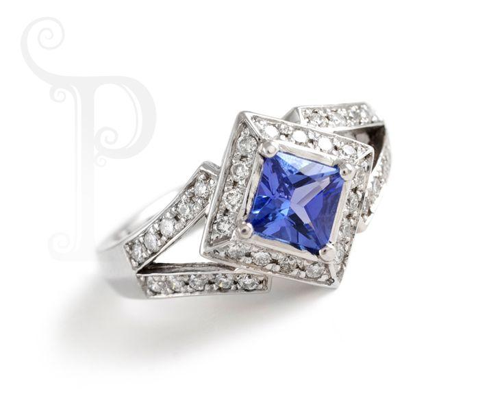 Custom made 18ct White gold Art Deco Ring. Set With A Princess Cut Tanzanite and Round Brilliant Cut Diamonds