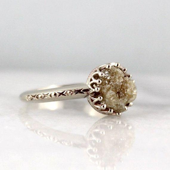 Raw Uncut Rough Diamond Solitaire Engagement Ring - 14K ...