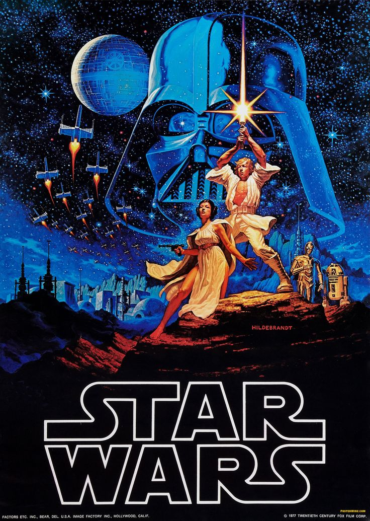 Artwork by Tim Hilderandt. A piece of iconic promotional artwork and served as one of the prototypes for much of the Star Wars art to follow.