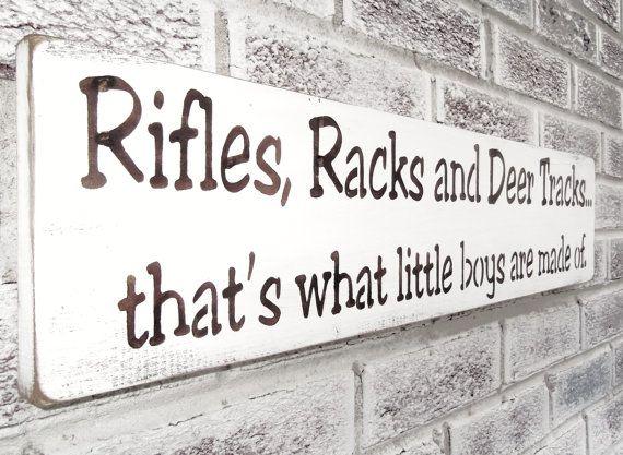Rifles Racks and Deer Tracks rustic baby nursery sign, Hunting Theme, baby boy's nursery, rustic nursery art, country nursery, cabin decor