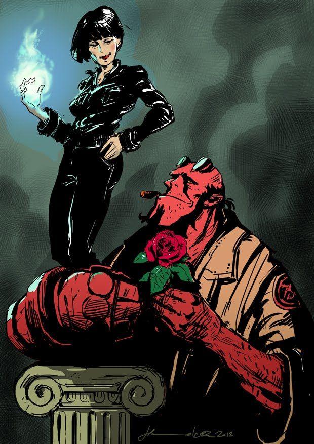 hellboy and liz | ... theme for OzComics Draw-Off #24. So I drew Hellboy and Liz Sherman