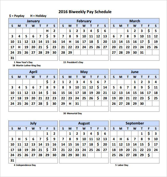 2016 Biweekly Payroll Calendar