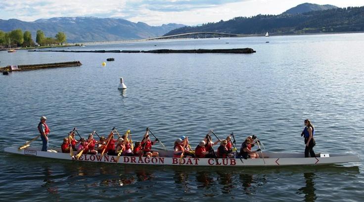Dragon boat race in Kelowna is done during The Kelowna Dragon Boat Festival.