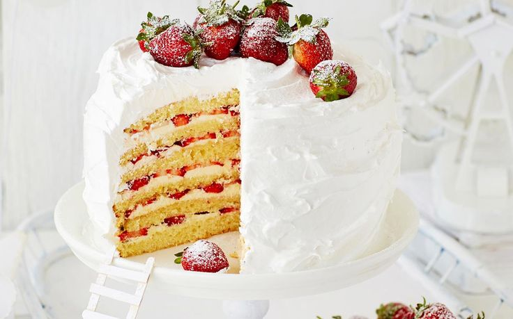 Strawberry and passionfruit mile-high layer cake recipe - By Australian Women's Weekly, Get creative with this delectable strawberry and passionfruit mile-high layer cake - super tasty and pretty as a picture!