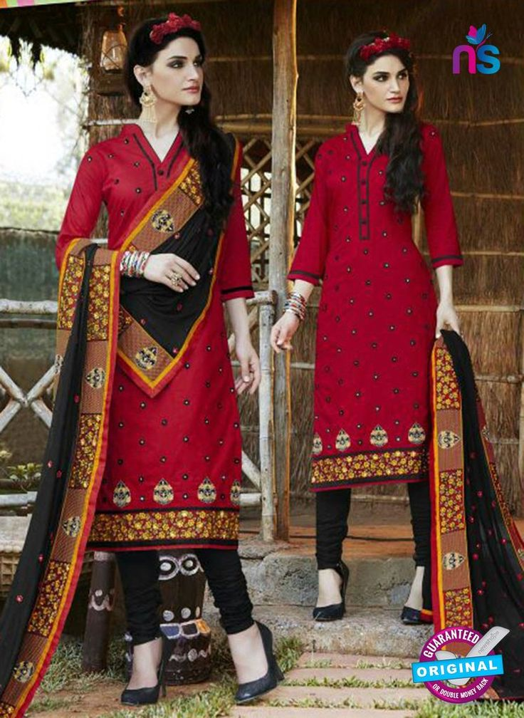 SC 13468 Red and Black Cambric Cotton Designer Fancy Suit.