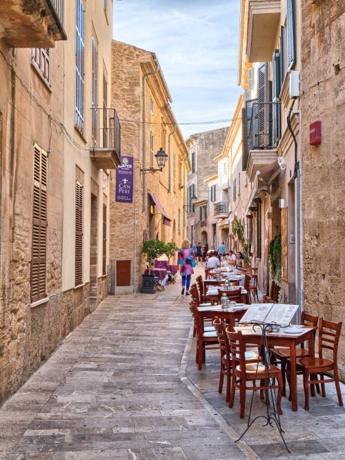 Streetside restaurant in Alcudia, Majorca / Spain (by...