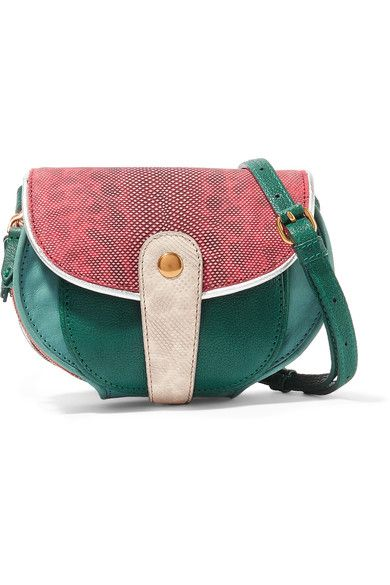JÉRÔME DREYFUSS   Momo mini snake and textured-leather shoulder bag  $725      Ecru and red snake, mint and brick textured-leather (Goat), emerald textured-leather (Buffalo) Snap-fastening front flap Snake: Indonesia  Weighs approximately 1.1lbs/ 0.5kg Imported