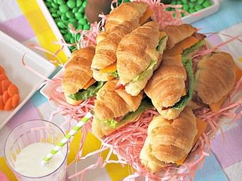 Mini Ham and Cheese Croissant Sandwiches, but with no mustard, and any bread would work!