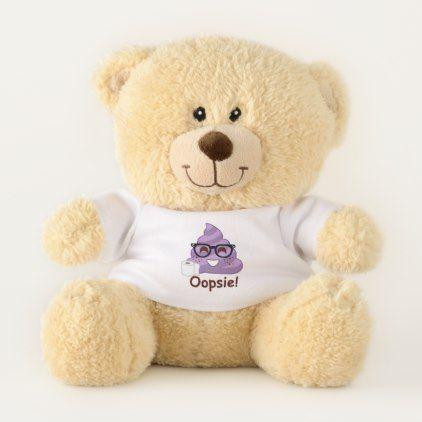 Oopsie Poopsie Purple Emoji Teddy Bear - trendy gifts cool gift ideas customize