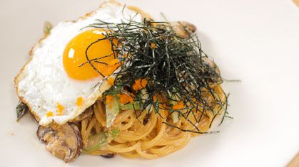Japanese style spaghetti with masago (capelin roe) in a light cream sauce. So easy and so yum! Recipe by Pailin Chongchitnant.