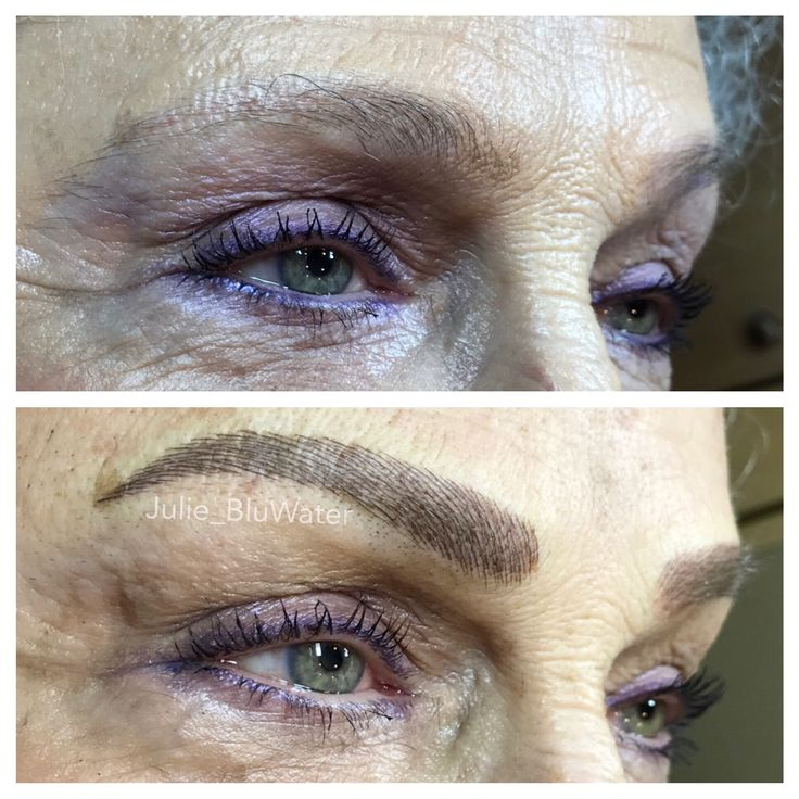 Covering old red tattooed brow with microblading