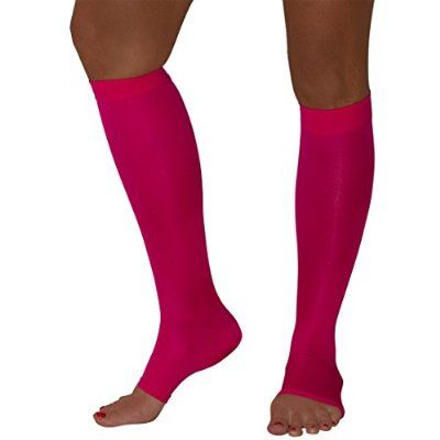 Maternity Compression Stockings - Open-Toe - 20-30 mmHg Graduated Compression Knee High Stockings (Large, Neon Pink)