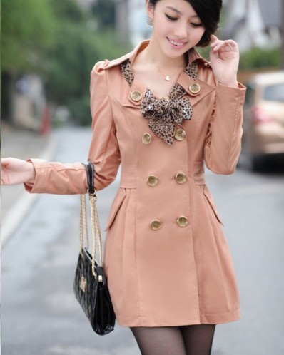 Rosy Pink Long Sleeve Chic Design Leopard Scarf Collar Double-Breasted Trench Cotton Coat