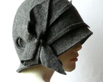 Brown Felted Hat felt hat Cloche Hat Flapper 1920 by Feltpoint