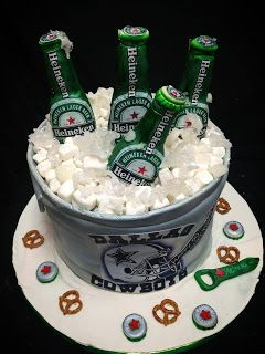 50 th cake   www.RoxanasCakes.com: 50th Birthday ! Heineken Beer Bucket Cake!