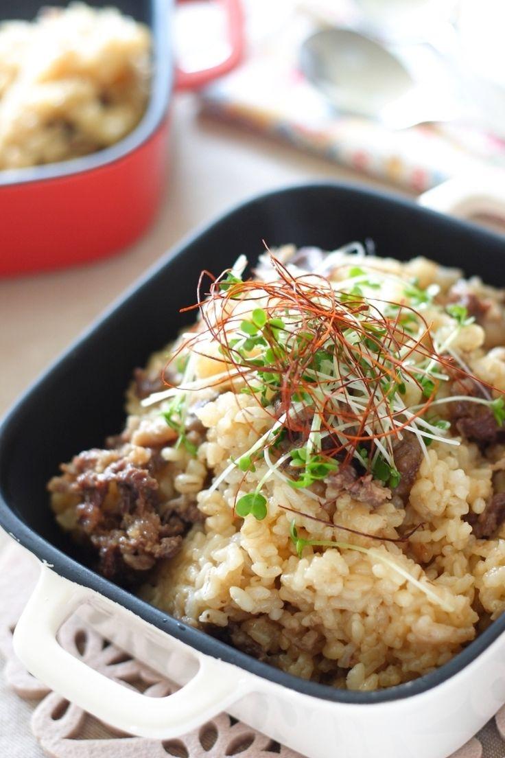 肉の炊き込みご飯 by 小春 / たっぷりの牛薄切り肉に味をつけたものを、ご飯と一緒に炊きます。ボリューム満点です。 / Nadia