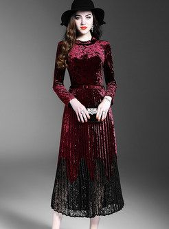 c75b8638a354 Wine Red Vintage Lace Patch Velvet Skater Dress in 2019