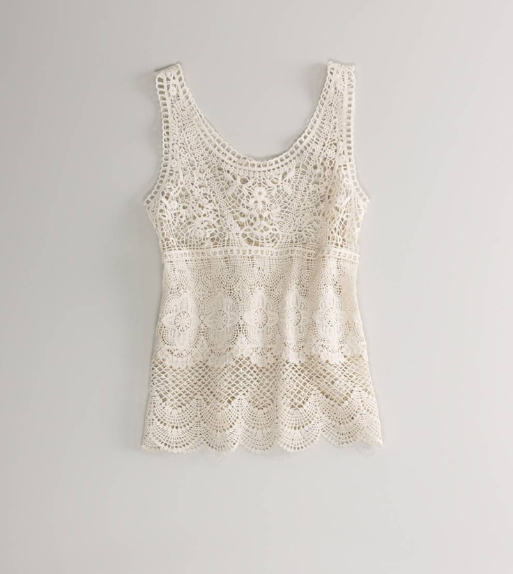 Summer Fashion, Lace Tops, Summer Wear, American Eagles Outfitters, Crochet Tanks, Crochet Lace, Lace Tanks, Crochet Tops, Summer Tops