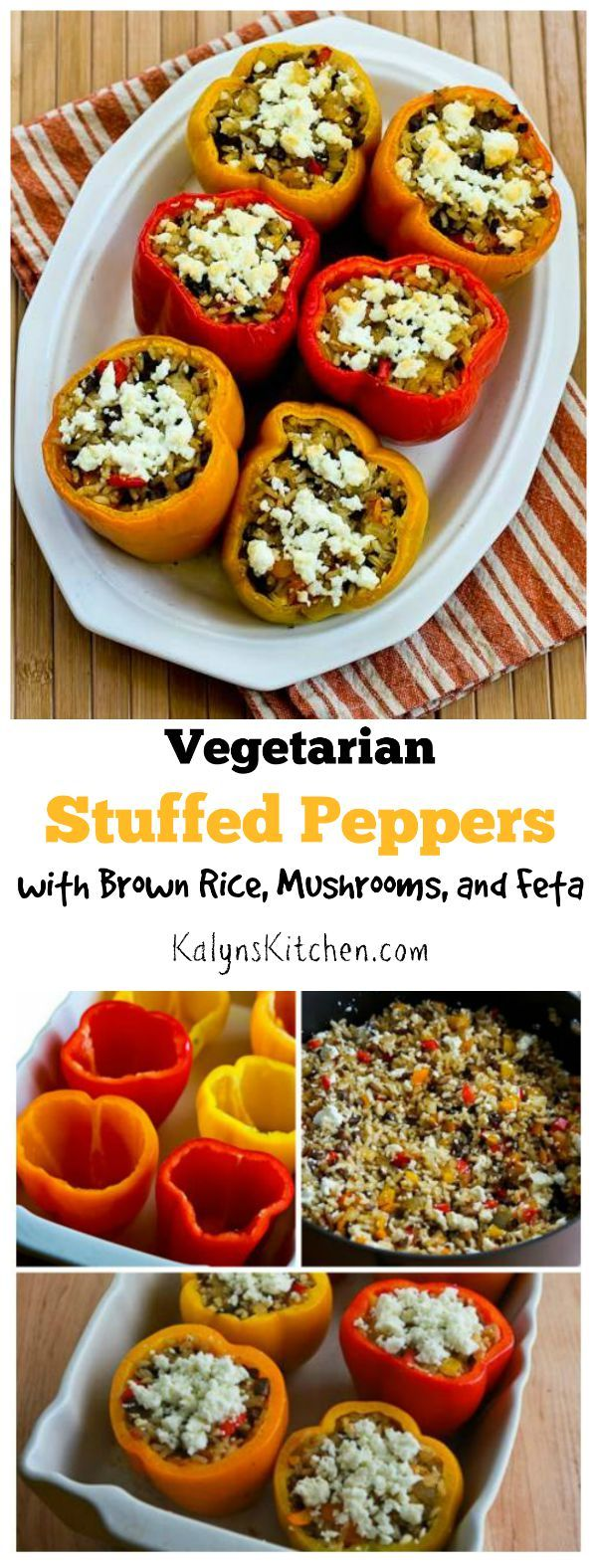You won't miss the meat in these Vegetarian Stuffed Peppers with Brown Rice, Mushrooms, and Feta!  (Gluten-Free) [found on KalynsKitchen.com]