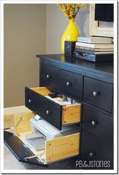 DIY: How To Put Hinges On A Drawer Front - turn a drawer into a usable space for a printer. Tutorial.