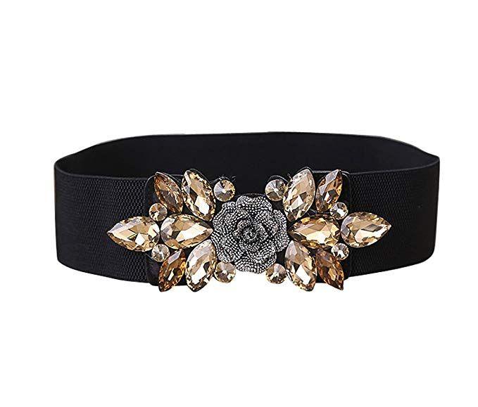 Women/'s Silver Gold Chain Belts Elastic Metal Waist Cute Ring Buckle Dress Decor