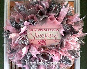 Deluxe Little Princess Pink Deco Mesh Wreath by WreathsandBowsOhMy