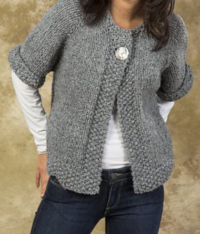 Free Knitting Pattern for Easy Quick Swing Coat - One-button cardigan jacket is knitted from the top down in one piece. Quick knit in super bulky yarn.