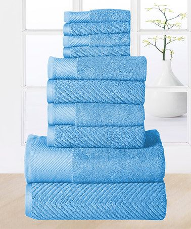 This 10-Piece Sea Blue Elegance Egyptian Cotton Towel Set by Affinity Home is perfect! #zulilyfinds