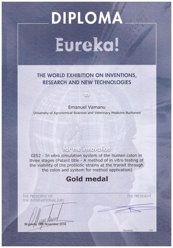 Bruxelles 2016_EUREKA INNOVA -USAMV Bucuresti - Diploma Medalie Aur