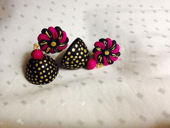 Handmade polymer clay jhumka/ jhumki earrings black, pink and gold