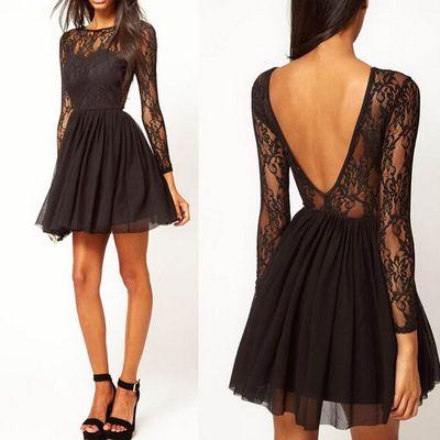 Homecoming dress,lace homecoming dress,black homecoming dress,fitted homecoming dress,short prom dress,long sleeve prom dress,xh52