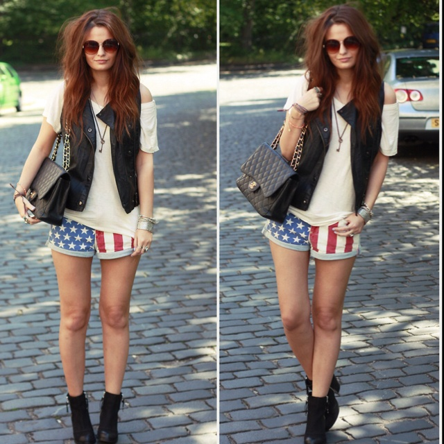 American flag shorts outfit
