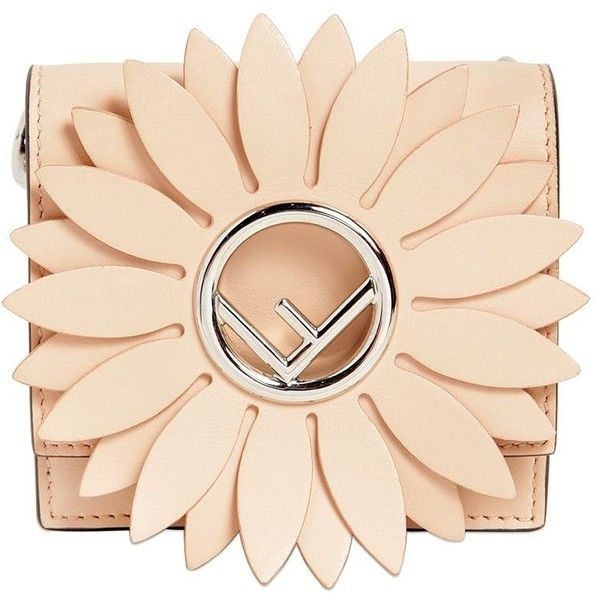 Fendi Women Micro Kan I Flower Leather Shoulder Bag ($975) ❤ liked on Polyvore featuring bags, handbags, shoulder bags, purses, nude, shoulder handbags, flower purse, nude handbags, beige leather handbags and genuine leather handbags