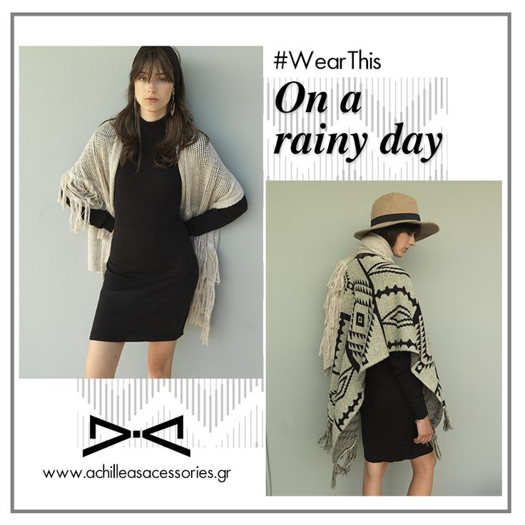Rainy day outfit. #wearthis #knitdress #poncho #winter #rain #boho #chic