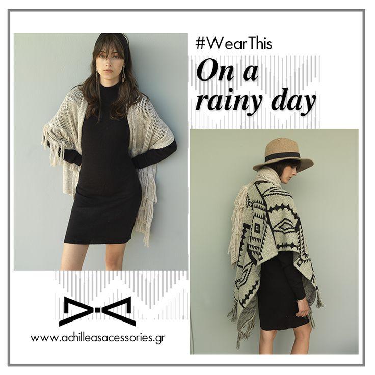 Rainy day outfit. #wearthis #knitdress #poncho #winter #rain #boho #chic