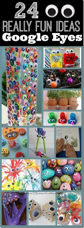 24 Really Fun Ideas with Googly Eyes - so many really creative and fun kids activities! Love the googly eye reading stick, vase, ladybug lids and #24