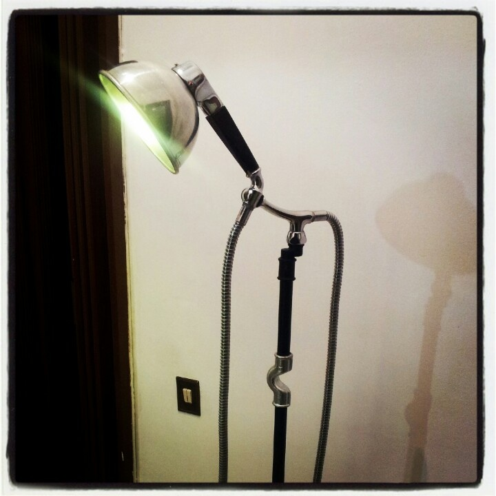 Design lamp with hydraulic pipes & recycled pieces
