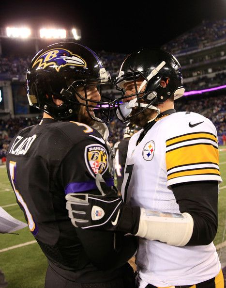 Quarterbacks Joe Flacco #5 of the Baltimore Ravens and Ben Roethlisberger #7 of the Pittsburgh Steelers talk following the Ravens 22-20 win