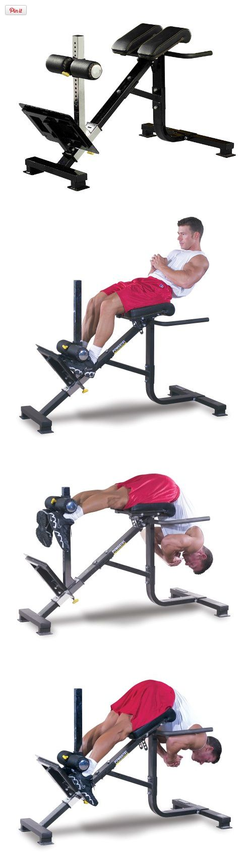 Powertec Fitness P-HC10 45-Degree Dual Hyperextension / Roman Chair, The Powertec 45 Dual Hyperextension / Roman Chair allows you to strengthen your lower back, glutes and abs in a comfortable and precise position., #Sporting Goods, #Core & Abdominal Trainers