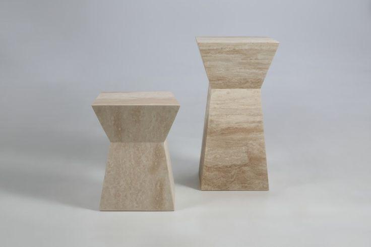 Piedestal din travertin Pierre Column, L40xl40xh50 cm