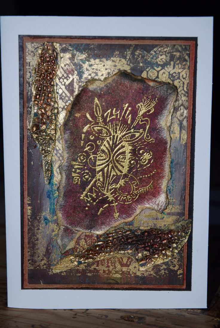 Paint and gold embossing. Deeadamsart.blogspot.co.uk.