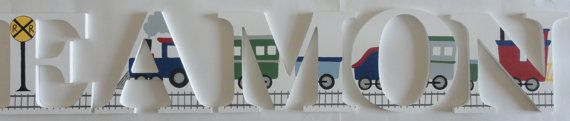Train Themed Wall Letters by SilverSprout on Etsy