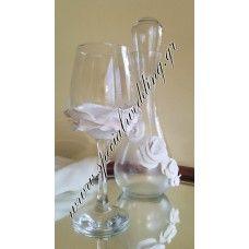 Σετ γάμου καράφα και ποτήρι κρασιού Λευκό τριαντάφυλλο 2 WEDDING SET carafe and wine glass White rose 2
