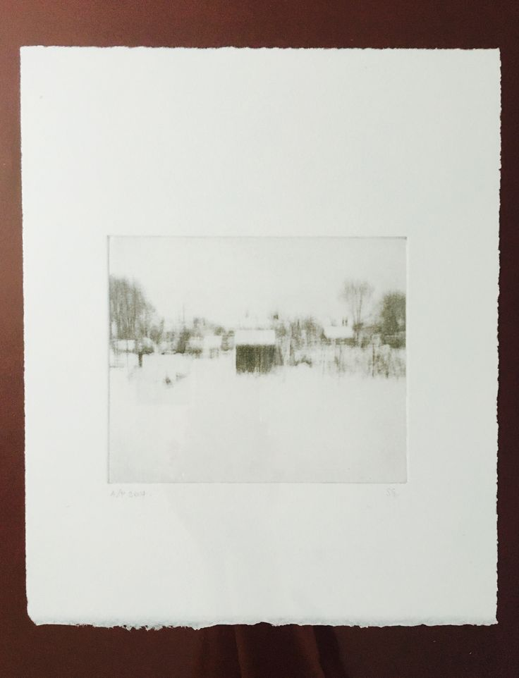 'Allotment in snow', photo etch, 2014