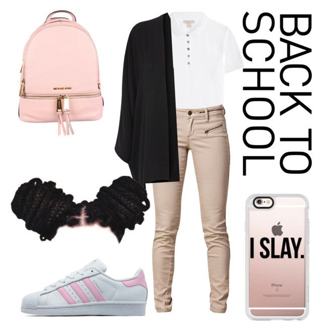 """Back to school"" by khristeencollins on Polyvore featuring Burberry, SELECTED, adidas Originals, MICHAEL Michael Kors, Casetify, Oasis, BackToSchool, uniform, nike and pumas"