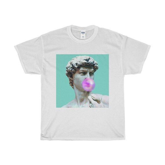 fcbd43327 Aesthetic Bubblegum Chewing David Statue T-Shirt / Unisex Tee / White,  Blue, Pink / XS-XXL #vaporwave #statue #goliath #TShirt #david  #michelangelo ...