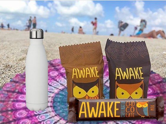 3 will win a $48.00 Variety of AWAKE Chocolate and Energy Granola Bars, Water Bottle and Round Towel. The warm sand, salty air and the ocean just steps away – there is nothing better than a summer day spent at the beach.