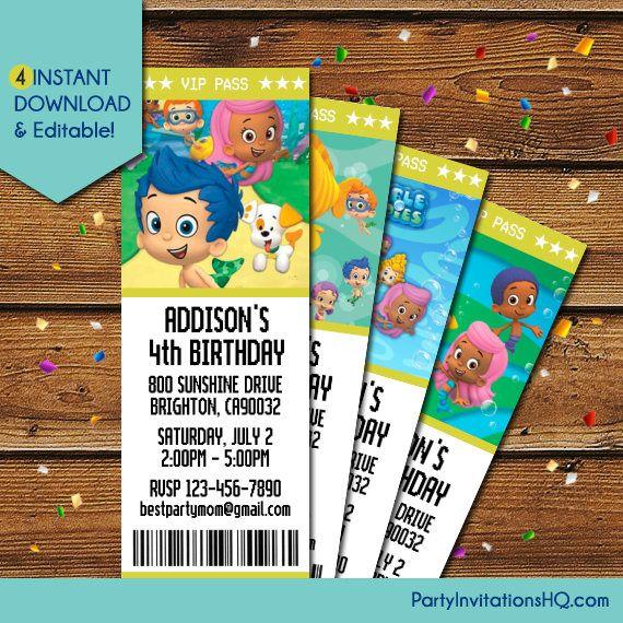 Bubble Guppies Invitation, Bubble Guppies Birthday Invitation, Bubble Guppies Party Invite, Bubble Guppies Invite, Nick Jr Invitation